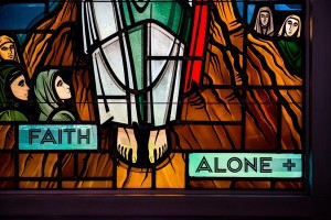Faith Alone Stained Glass Window