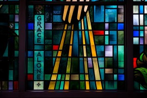 Grace Alone Stained Glass Window