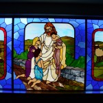 Stained Glass Window - Jesus welcomes the children